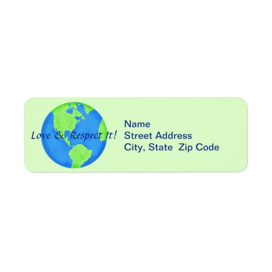 Love Respect Earth Globe Return Address Label
