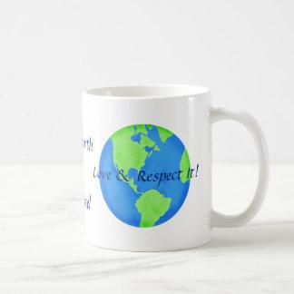 Love Respect the Earth Art Name Personalized Basic White Mug