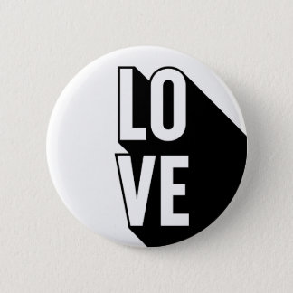 Love Retro Long Shadow Typography 2 Inch Round Button