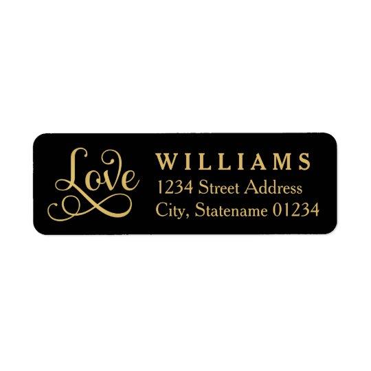 Love Return Address Labels   Gold Script