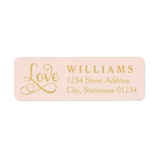 Love Return Address Labels | Gold Script