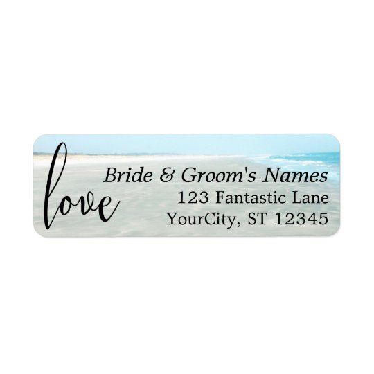 """Love"" Rippled Sand, Aqua Water Photo Modern Beach Return Address Label"