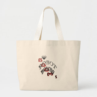 love robot bombs large tote bag