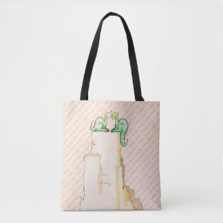 Love Rocks Cute Watercolor Dragon Couple Tote Bag