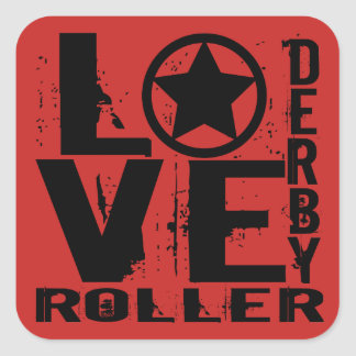LOVE Roller Derby Square Sticker