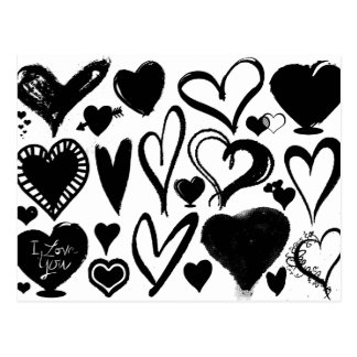 Love, Romance, Hearts - Black White Postcard