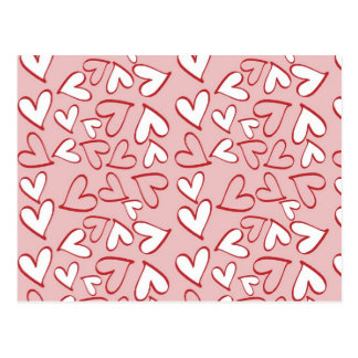 Love, Romance, Hearts - Red Pink White Postcard