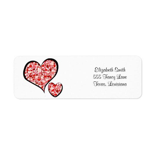 Love, Romance, Hearts - Red White Return Address Label