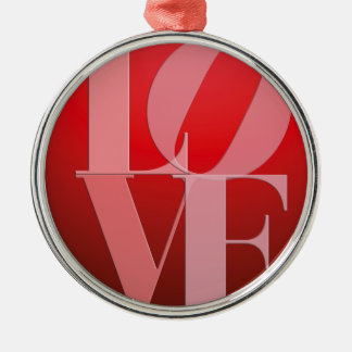 Love Romance Red Pink Silver-Colored Round Ornament