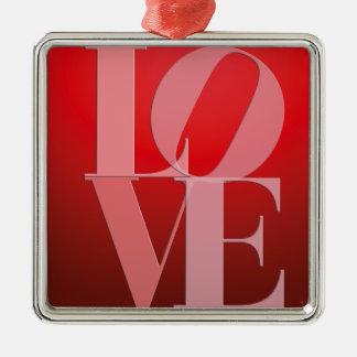 Love Romance Red Pink Silver-Colored Square Ornament