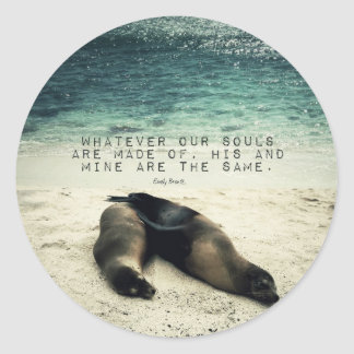 Love romantic couple quote beach Emily Bronte Classic Round Sticker