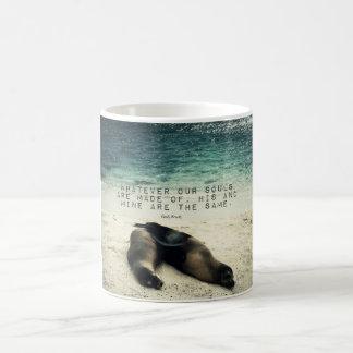 Love romantic couple quote beach Emily Bronte Coffee Mug