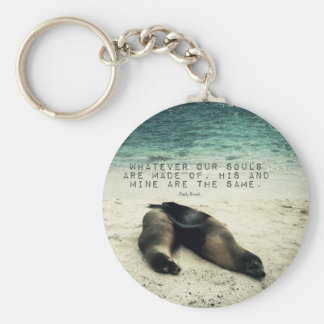 Love romantic couple quote beach Emily Bronte Keychain