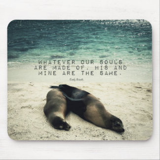 Love romantic couple quote beach Emily Bronte Mouse Pad