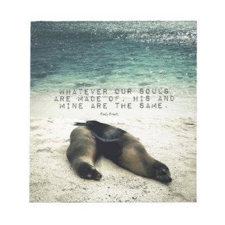 Love romantic couple quote beach Emily Bronte Notepad