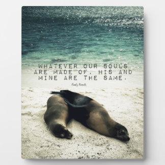 Love romantic couple quote beach Emily Bronte Plaque