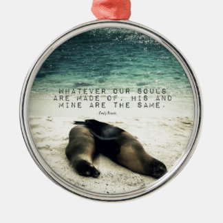 Love romantic couple quote beach Emily Bronte Silver-Colored Round Ornament