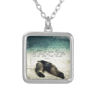 Love romantic couple quote beach Emily Bronte Silver Plated Necklace