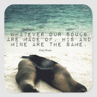 Love romantic couple quote beach Emily Bronte Square Sticker