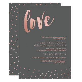 Love | Rose Gold & Gray | Wedding Card
