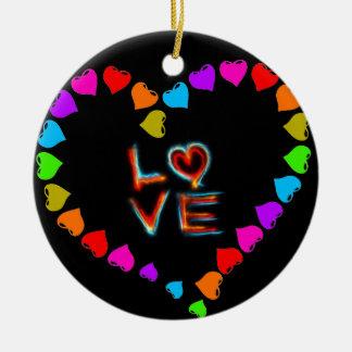 Love Round Ceramic Ornament