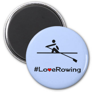 Love rowing caption blue magnet