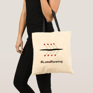 Love Rowing slogan and boat Tote Bag