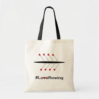 Love Rowing slogan and boat Tote Bag