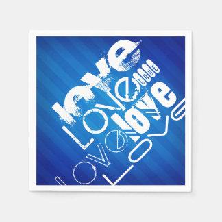 Love; Royal Blue Stripes Standard Cocktail Napkin