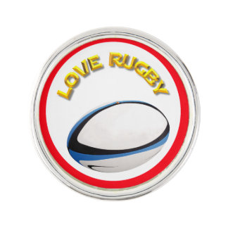 Love Rugby Lapel Pin, Silver Plated Lapel Pin