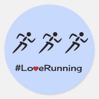 Love running hashtag slogan blue classic round sticker