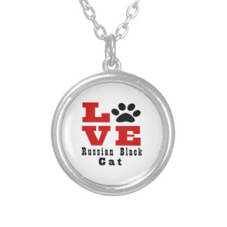 Love Russian Black Cat Designes Silver Plated Necklace