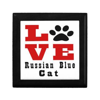 Love Russian Blue Cat Designes Keepsake Boxes