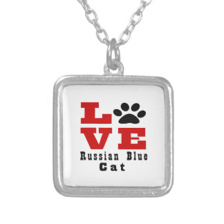 Love Russian Blue Cat Designes Silver Plated Necklace