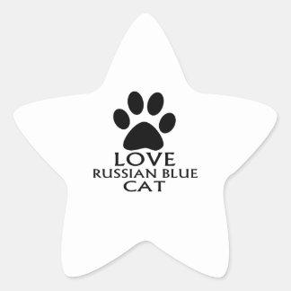 LOVE RUSSIAN BLUE CAT DESIGNS STAR STICKER