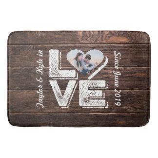 Love Rustic Woodland Photo Heart Frame Monogram Bath Mat