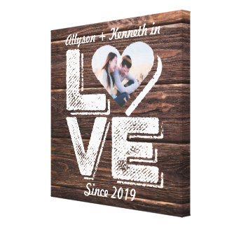 Love Rustic Woodland Photo Heart Frame Monogram Canvas Print