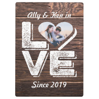 Love Rustic Woodland Photo Heart Frame Monogram Clipboard