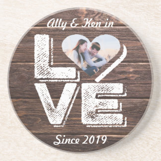 Love Rustic Woodland Photo Heart Frame Monogram Coaster