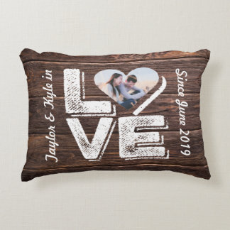 Love Rustic Woodland Photo Heart Frame Monogram Decorative Pillow