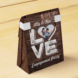 Love Rustic Woodland Photo Heart Frame Monogram Favor Box