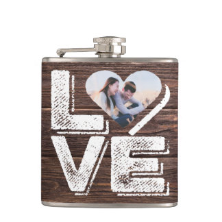 Love Rustic Woodland Photo Heart Frame Monogram Hip Flask