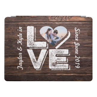 Love Rustic Woodland Photo Heart Frame Monogram iPad Pro Cover