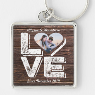 Love Rustic Woodland Photo Heart Frame Monogram Keychain