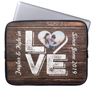 Love Rustic Woodland Photo Heart Frame Monogram Laptop Sleeve