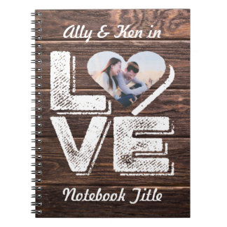 Love Rustic Woodland Photo Heart Frame Monogram Notebooks