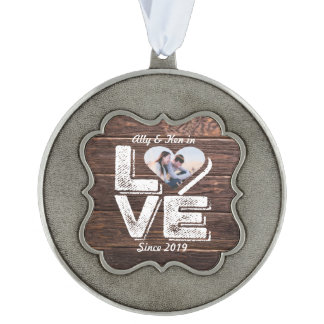 Love Rustic Woodland Photo Heart Frame Monogram Ornament