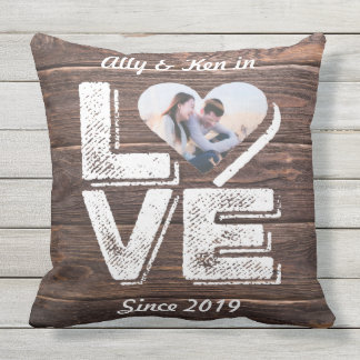 Love Rustic Woodland Photo Heart Frame Monogram Outdoor Pillow