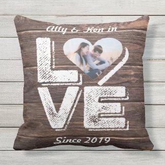 Love Rustic Woodland Photo Heart Frame Monogram Outdoor Pillow