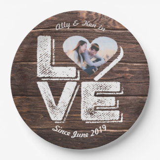 Love Rustic Woodland Photo Heart Frame Monogram Paper Plate